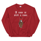 still a rose red sweatshirt hand holding a rose