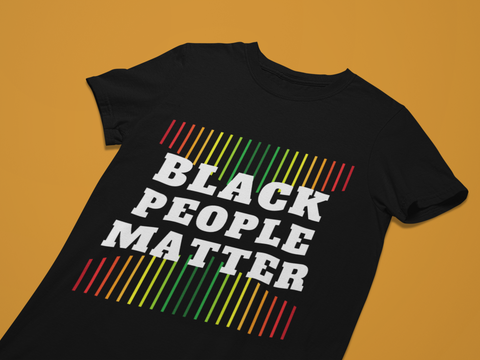 Black people matter black tshirt flatlay