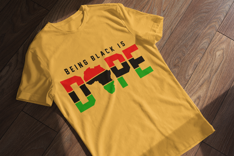 sweet expreshunz being black is dope gold tee