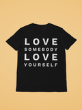 black love somebody love yourself tshirt on gold background