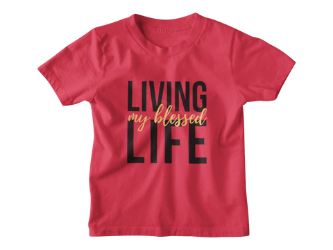 red living my best life kid tshirt flatlay