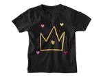 Black princess tshirt gold crown hearts