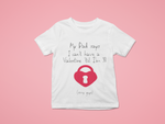 white Valentine's day heart on lock t shirt kids tee