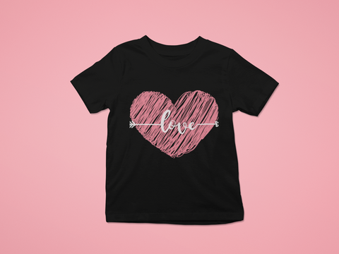 black t shirt pink scribble heart love arrow pink background