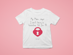 white no valentine mom kids tee pink background