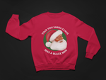 red santa claus is black sweatshirt black santa claus