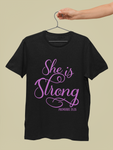 black and pink she is strong t shirt proverbs