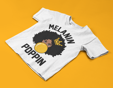 Poppin white kid's tee crown afro illustration melanin poppin