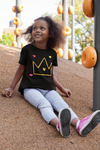 Happy black girl outdoors playground black princess tshirt crown hearts