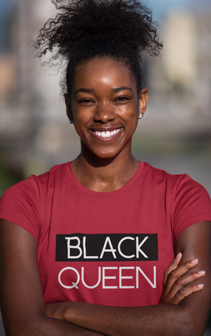 sweet expreshunz black queen tshirt red smiling woman afro puff outdoors happy