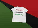 royalty white tshirt flat lay background
