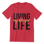living my blessed life red tee white background