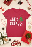 red let's get lit tshirt flatlay with presents christmas happy holidays flatlay santa merry christmas