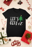 black let's get lit tshirt flatlay with presents christmas happy holidays flatlay santa merry christmas