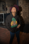 happy woman wearing black blessed hoodie