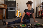 love explosion tshirt smiling woman music records guitar