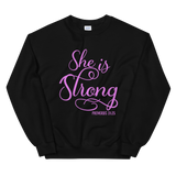 black and pink she is strong sweatshirt