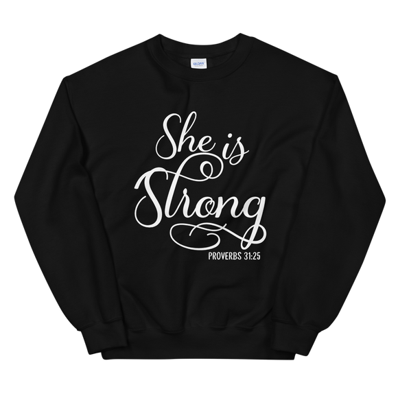 black and white she is strong sweatshirt