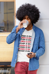 sweet expreshunz enough is enough white tshirt black man afro drinking coffee standing outside brick wall