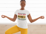 Black woman meditating yoga white spiritual being tshirt braids