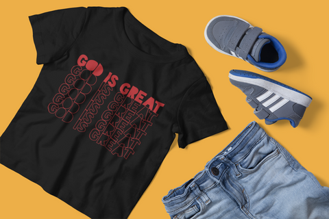 sweet expreshunz God is great black tshirt flatlay