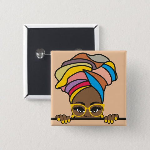 black woman artwork colorful wrap peeking glasses nails button sis