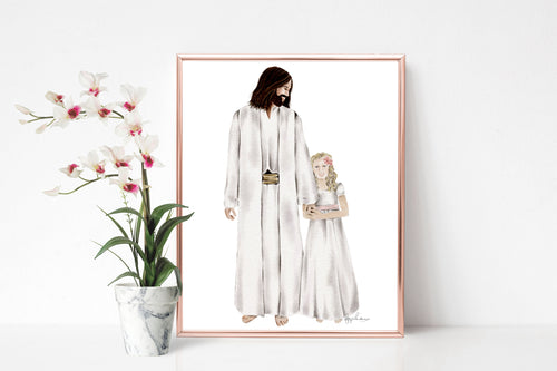 Customizable Baptism Portrait with Christ | In His Hands | Baptism