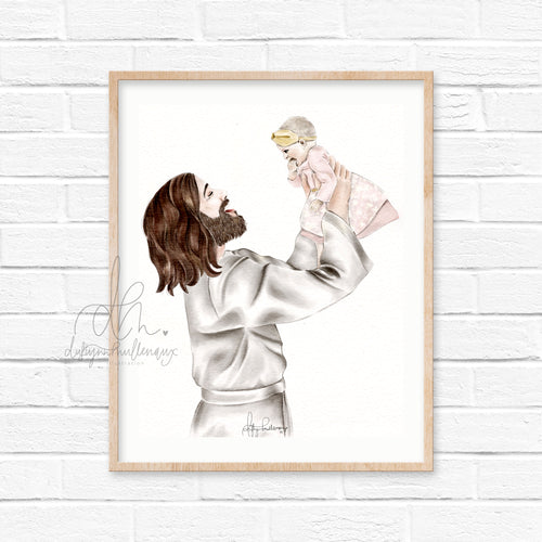 Customizable Christ and Baby Portrait - In His Hands