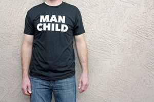 Adult Man Child Tee | Vintage Black Unisex Crew Neck | SALE