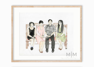 Custom Watercolor Family Portraits