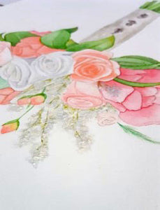 Acrylic details on a watercolor bridal bouquet painting.