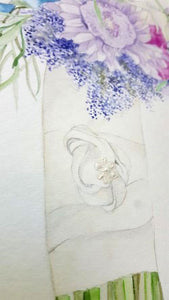 Custom Bridal Bouquet Painting, Acrylic Details.