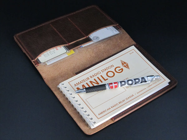 Ham Radio Log (Brown Leather-Hand Stitched)