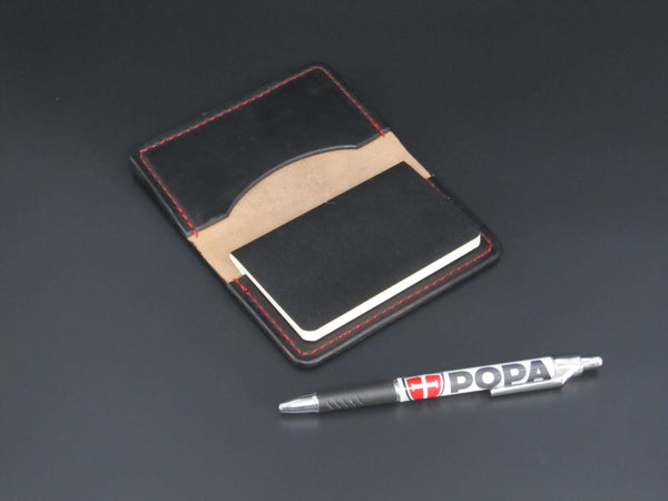 Small Moleskin Cover (Black Leather-Red Stitching)