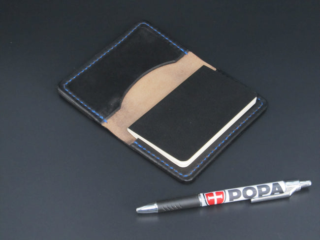 Small Moleskin Cover (Black Leather-Blue Stitching)