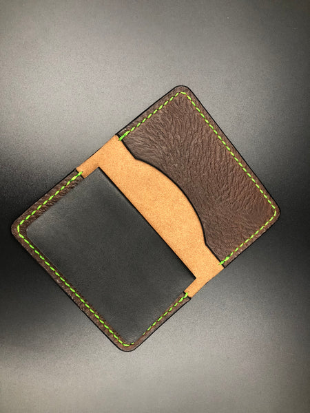 Small Moleskin Cover (Brown Leather-Toxic Green Stitching)