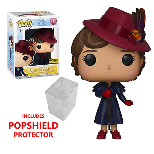 Funko Pop Mary Poppins with Umbrella Exclusive #470 with Pop Protector Bundle