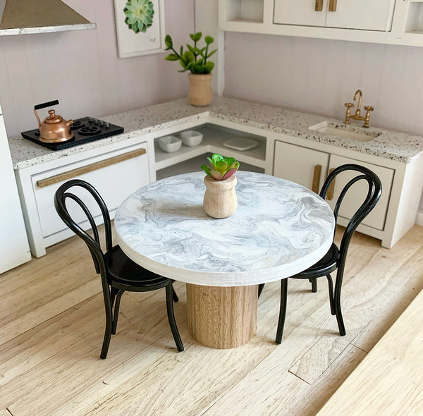 Round Marble Table with Oak Pedestal