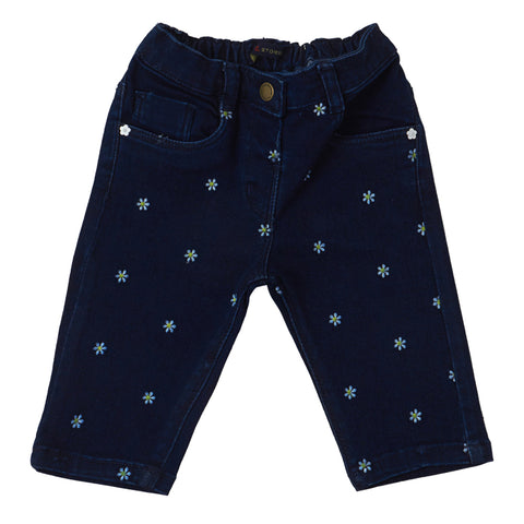 Baby Boys Blue Regular Fit Solid Jeans