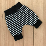 Black Stripes Harem Shorts (Black Bands)