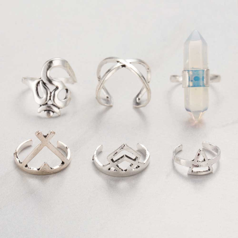 6pc Gem Ring Set