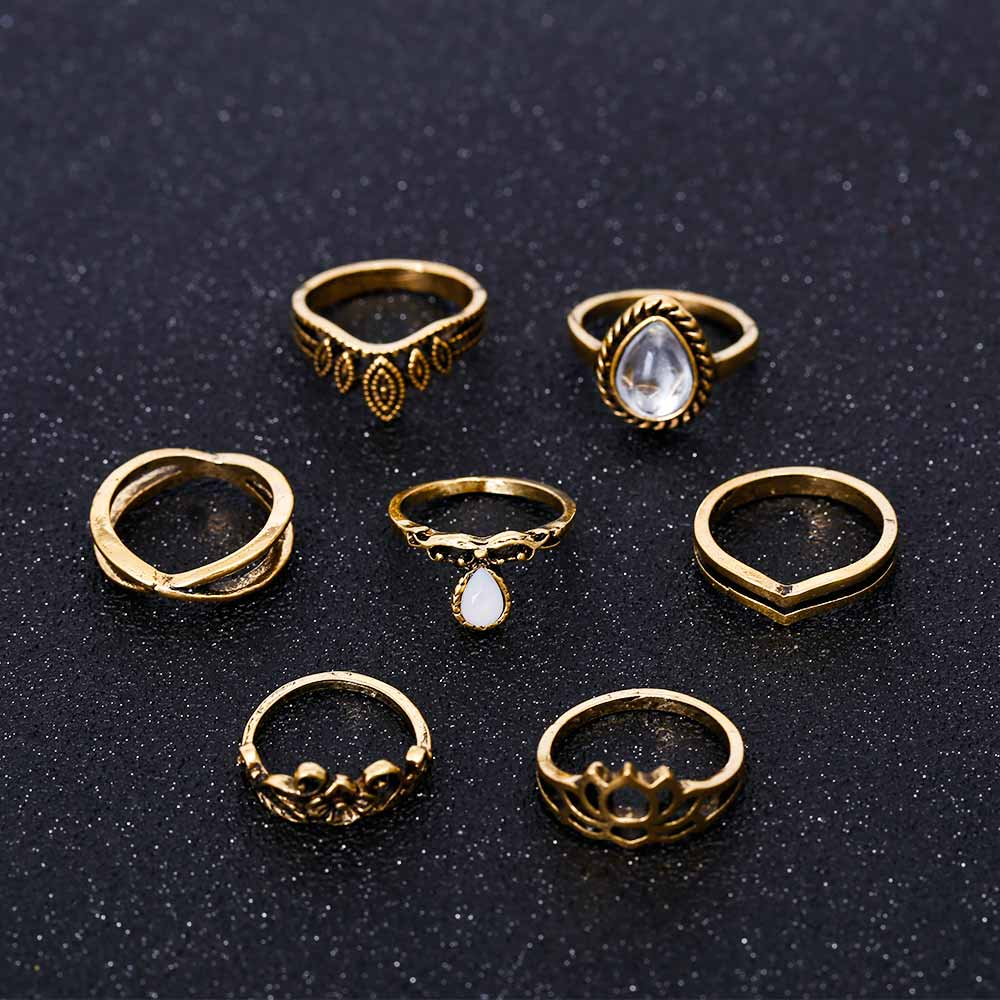 7pc Lotus Ring Set