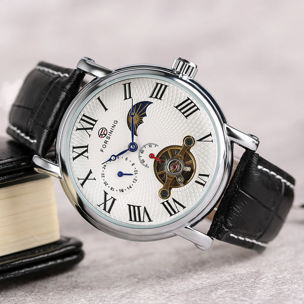 Sun Moon Phase Mechanical Watch SIngapore White