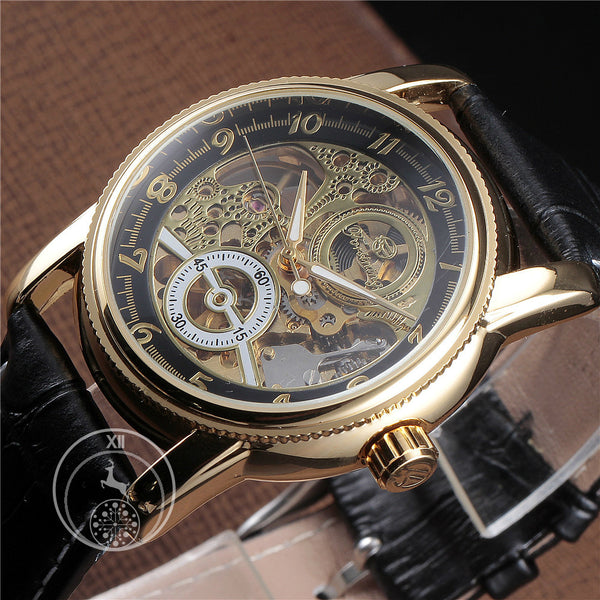 Black Silver Classic Dial Skeleton Watch Singapore