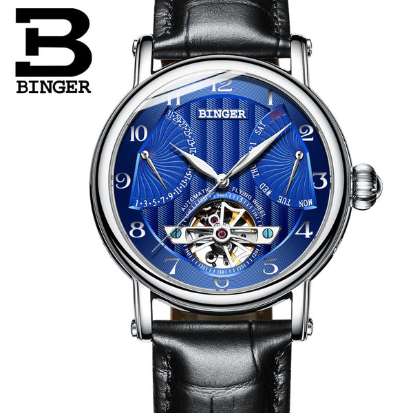 BINGER Guerriero Mechanical Watch Silver Blue