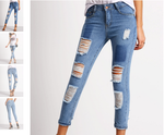 BLUE POCKETS RIPPED DENIM JEANS