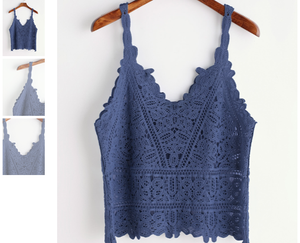 BLUE CROCHET CAMI