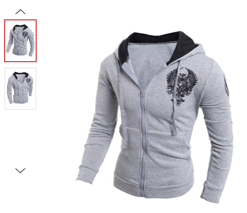 MENS/YOUTH GREY PRINT HOODIE JACKET