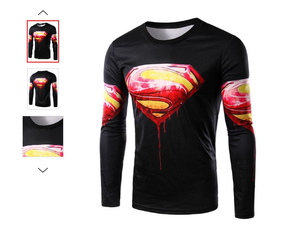 MENS/YOUTH 3D SUPERMAN BLOOD LONG SLEEVE TOP