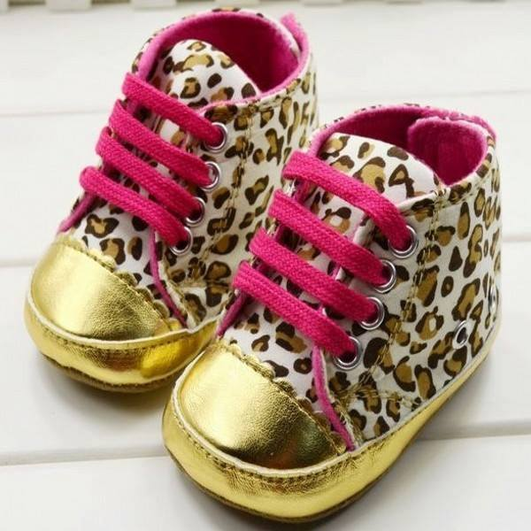 GOLD LEOPARD BABY SHOES